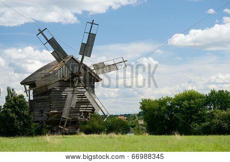 Traditional Old Ukrainian Rural Windmill ,pirogovo,europe