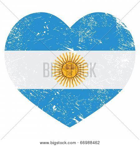 Argentina retro heart shaped flag