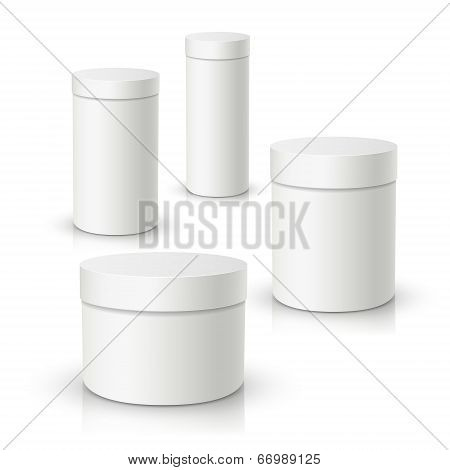 3D Vector White Round Gift Box, Product Package