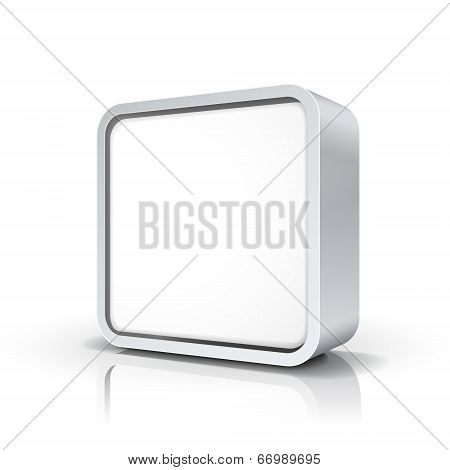 Vector Blank Chrome Metal Square Frame Or Button