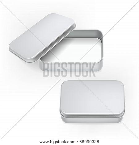 Vector 3D Blank Metal Box