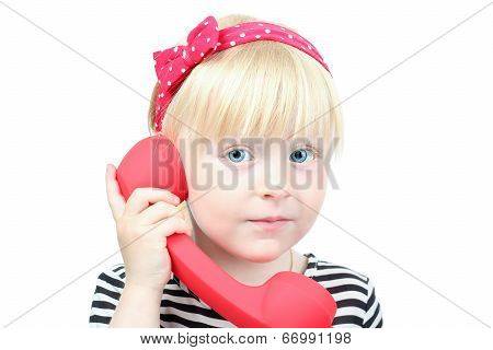 Pretty  Little Blond Girl With A Red  Retro Phone On A White Background