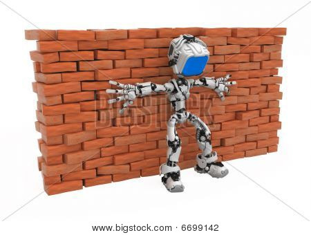 Blue Screen Robot, Against Wall