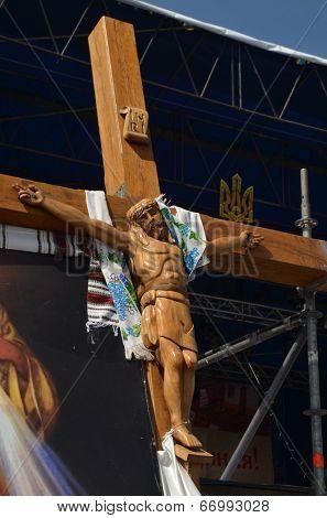 KIEV, UKRAINE - APR 19, 2014: Crucifixion of Ukraine. Burned downtown of Kiev. Rioters camp. April 19, 2014 Kiev, Ukraine
