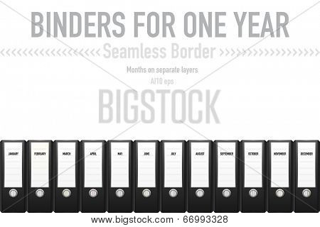Binders for one year seamless vector border. Seamless border from black binders labeled with months. Months on separate layer. AI10 eps vector illustration.