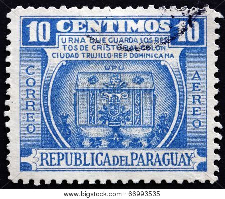 Postage Stamp Paraguay 1952 Urn Containing Remains Of Columbus