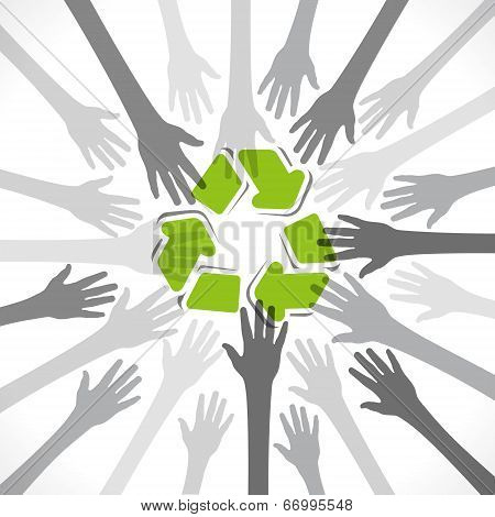 hand background with recycle symbol vector