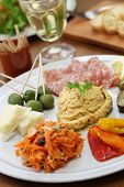 stock photo of antipasto  - homemade assortment of appetizers - JPG