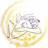 stock photo of massage therapy  - Spa massage illustration for all design conditions - JPG