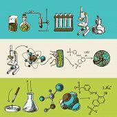 picture of retort  - Decorative scientific global chemistry research equipment symbols and molecule formulas doodle sketch color banners set vector illustration - JPG