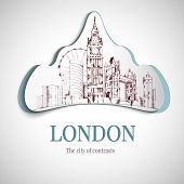 picture of covered bridge  - London city of contrast emblem with big ben tower and bridge vector illustration - JPG