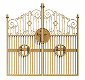 picture of entryway  - A concept image of the golden gates to heaven shut on an isolated white background - JPG