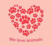 stock photo of animal footprint  - Heart animal - JPG