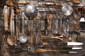 picture of food preparation tools equipment  - Old and various accessories for the preparation of food - JPG