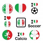 stock photo of offside  - Soccer ball with flag of Italy vector icons set isolated on white - JPG