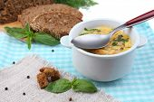 picture of saucepan  - Tasty soup in saucepan on tablecloth - JPG