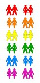 image of gay pride  - Six gay couples and six lesbian couples form the colors of the gay pride rainbow flag - JPG