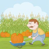 image of farmworker  - Farmer cartoon man harvest - JPG