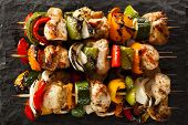 picture of kababs  - Homemade Chicken Shish Kabobs with Peppers and Onions - JPG