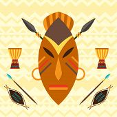 stock photo of african mask  - African ethnic background with illustration of mask - JPG