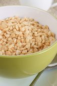 stock photo of crispy rice  - Puffed rice cereal rice and sugar paste that is formed into rice shapes - JPG