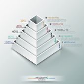 stock photo of parallelepiped  - Modern infographics options banner with 3d pyramid for 5 options made of white blocks - JPG