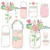 image of wedding  - Hand Draw Wedding flower Mason Jar - JPG