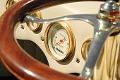 picture of mph  - dashboard dials on a retro custom car - JPG