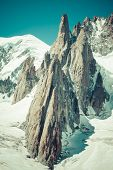 pic of crevasse  - Massif de mont Blanc on the border of France and Italy - JPG