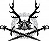 foto of antlers  - Helmet with antlers and Viking swords - JPG