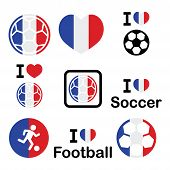 image of offside  - Soccer ball with flag of France vector icons set isolated on white - JPG