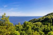 stock photo of kama  - View from steep bank on Votkinskoe Reservoir on the Kama River