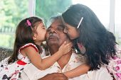 stock photo of grandparent child  - Portrait Indian family at home - JPG
