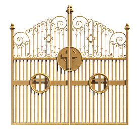 image of entryway  - A concept image of the golden gates to heaven shut on an isolated white background - JPG