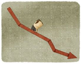 picture of going out business sale  - Sadness businessman going down in arrow graph escalator - JPG