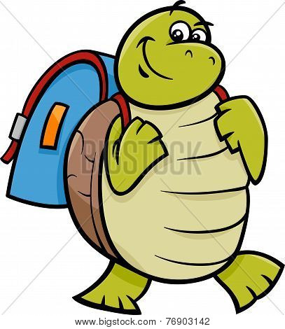Turtle With Satchel Cartoon Illustration