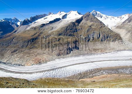 Aletsch Glacier In The Swiss Alps