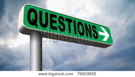questions and solutions need serious answers as support desk information answer question with text and word concept road sign