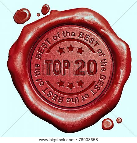 top 20 chart ranking or winners result red wax seal stamp