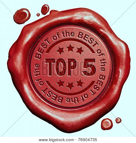 top 5 chart ranking or winners result red wax seal stamp