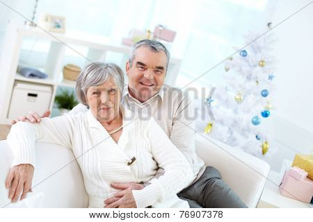Senior couple posing at their home at Christmas