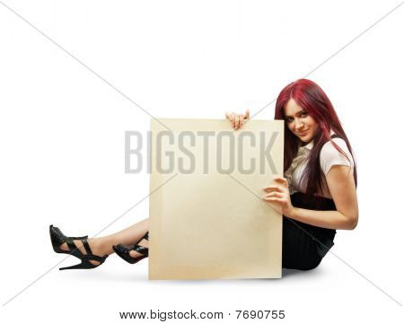 Girl Holds An Empty Poster