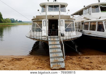 The River Steam-ship At Coast With A Gangway