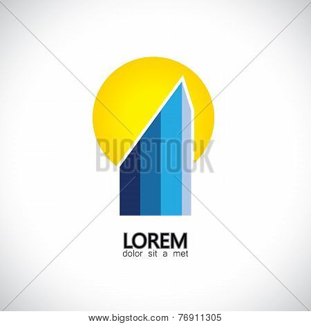 Vector Icon Commercial Highrise Building & Sun Setting In Evening
