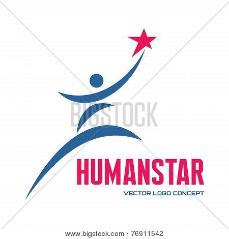 Human star - vector logo concept illustration for business company, media portal, sport club, creati