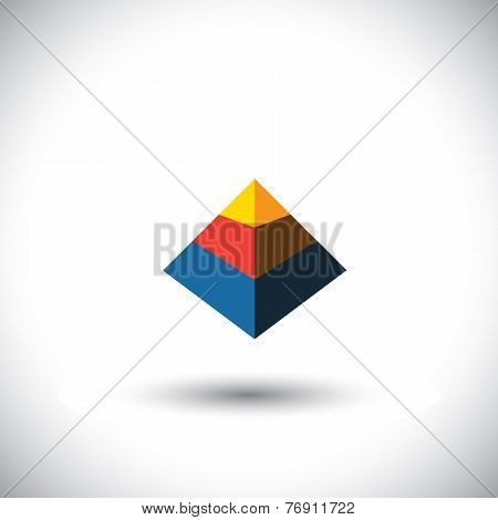 Concept Vector 3D Triangle Icon In Shape Of Polyhedron Made Of Yellow Orange Red Blue Color Slabs