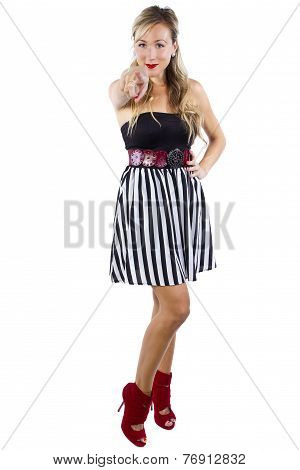Blond Girl in Stylish Striped Dress