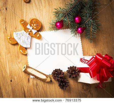 Christmas card: blank vintage rural gift