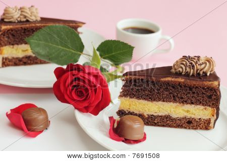 Chocolate Cake With Rose And Candies