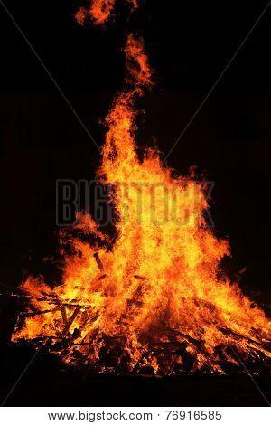red wild fire on black background